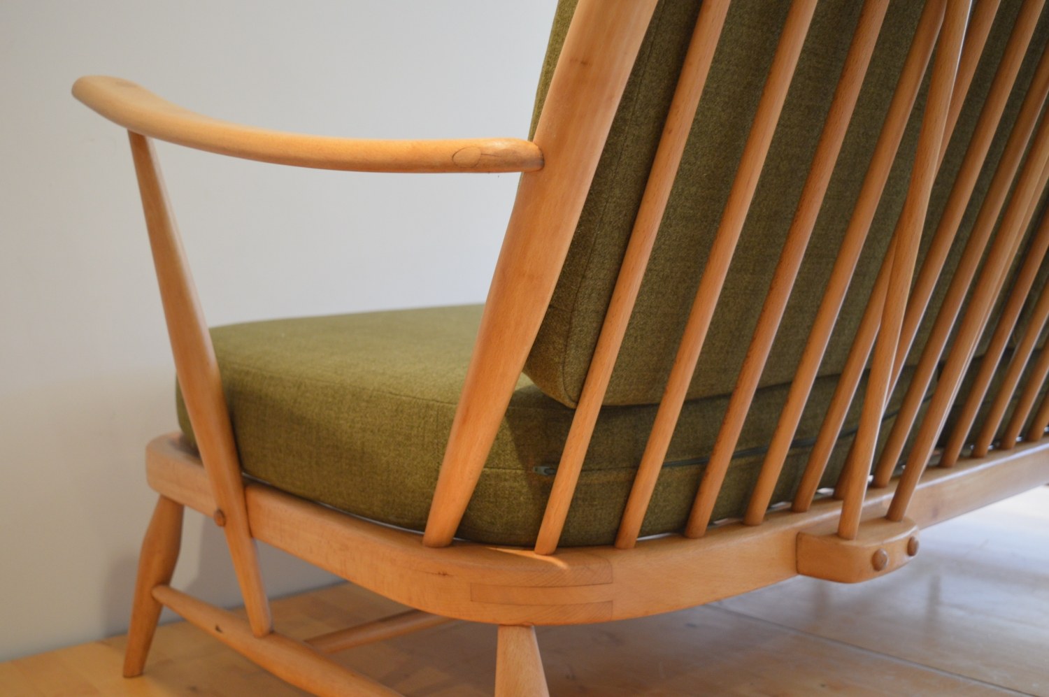 Vintage Ercol 203 Two Seat Sofa In Soft Green The