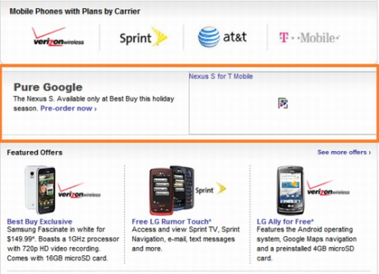 T-mobile Nexus Two Best buy Pre Order page