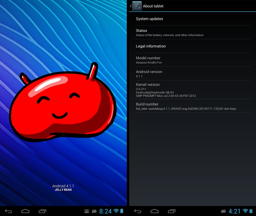 Tablet UI Based Android 4.1 Jelly Bean ROM For Kindle Fire