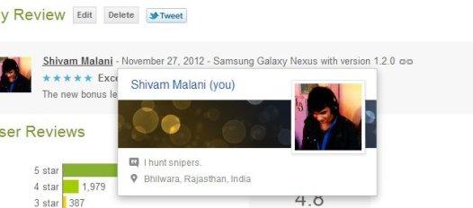 Google+ profile on Google Play reviews