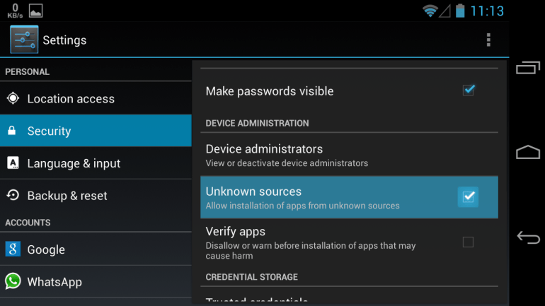 Settings for Android 4.0 and above versions