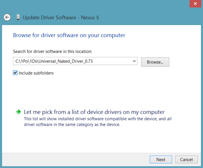 Select Universal Naked Driver Installation Folder