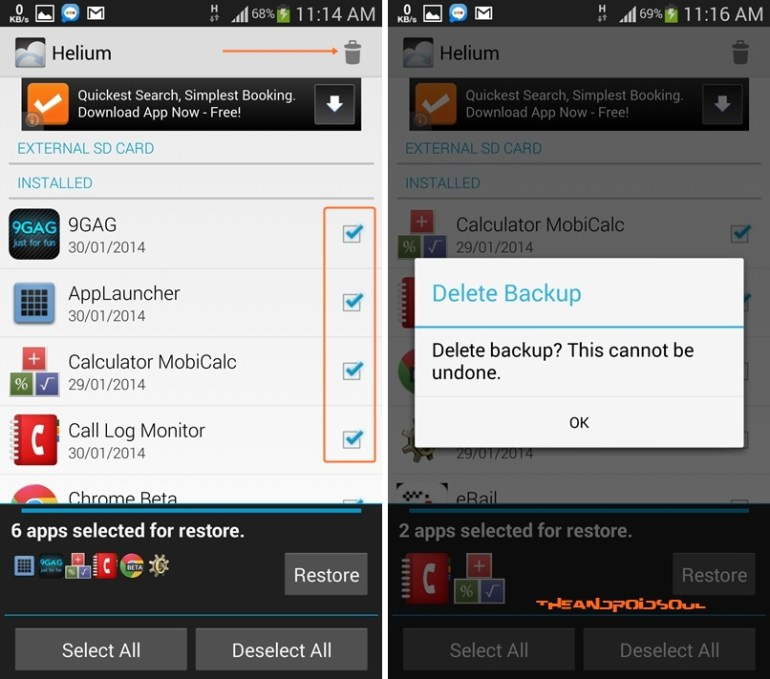 Delete Backup of Apps in Helium Android App