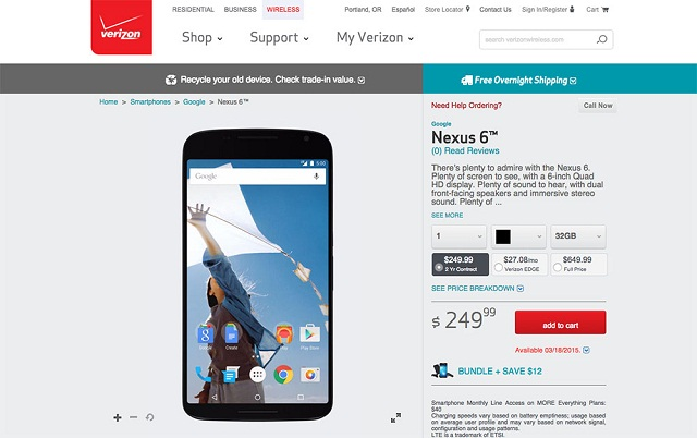 nexus 6 verizon