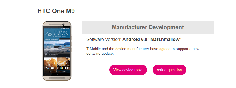T-Mobile One M9 Marshmallow Update