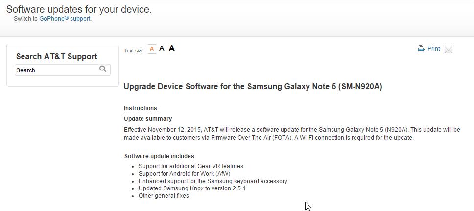AT&T Note 5 AOJ7 Update