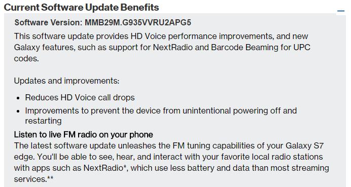 verizon s7 update fm radio