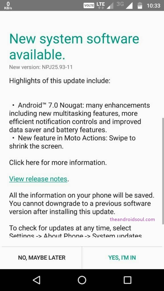 moto pure edition android nougat software update release date rolling today