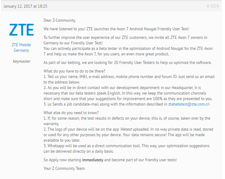 zte grand x 4 nougat update from 23th