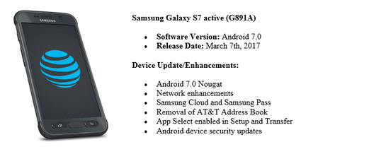 AT&T Galaxy S7 Active Nougat update