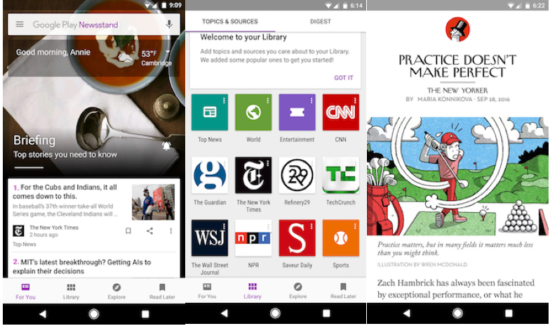New update to Google Play Newsstand brings App launcher shortcuts and quick access to key tabs in app