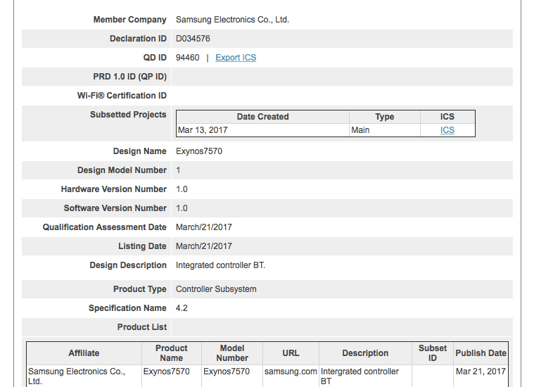 Looks like Exynos 7570 would power low-end phones soon