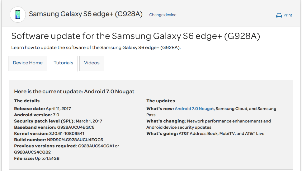 Galaxy S6 Edge+ Nougat update