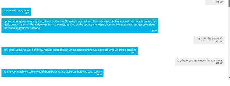 Samsung Galaxy S6 Oreo update