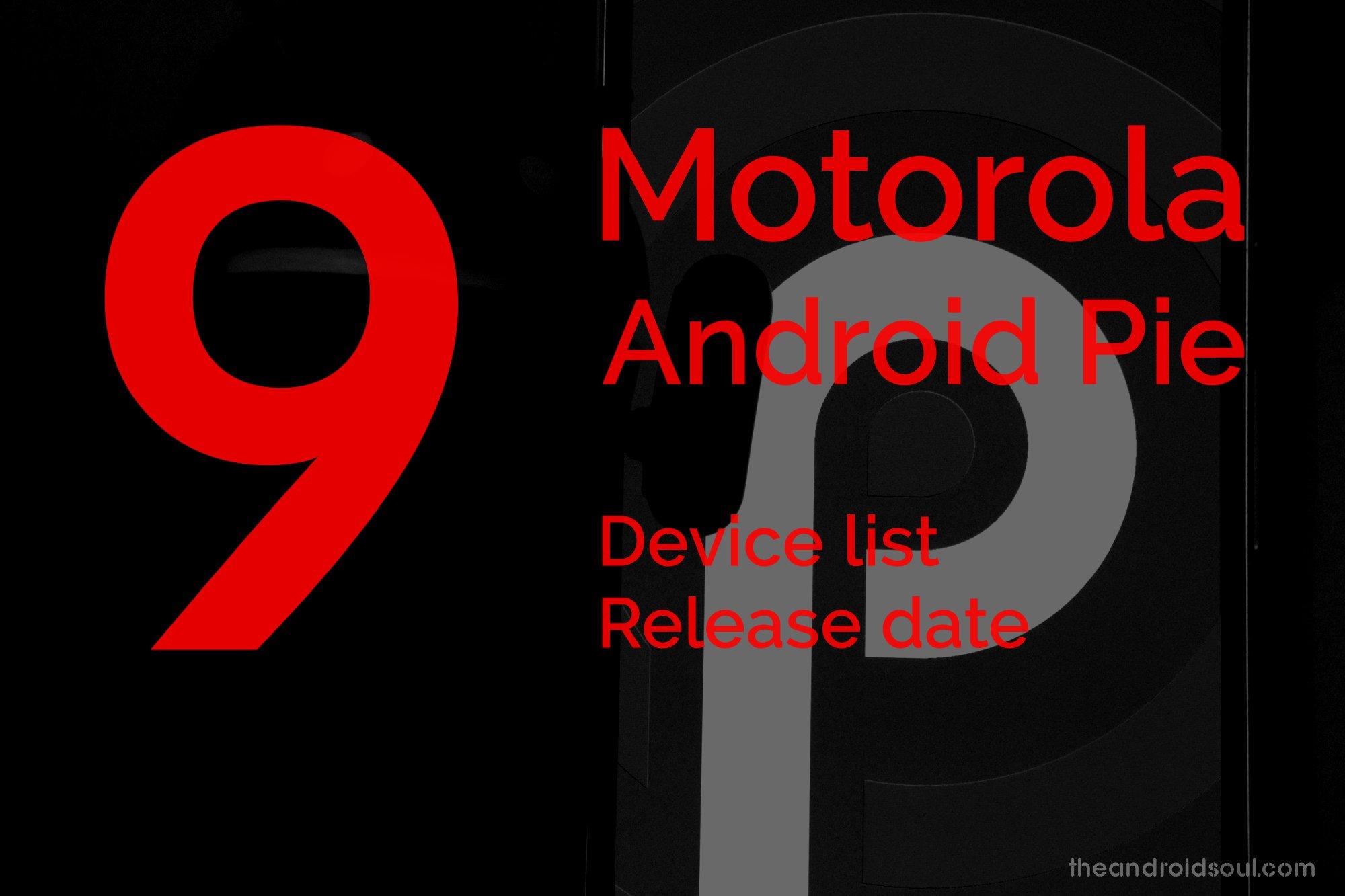 motorola android 9 update list