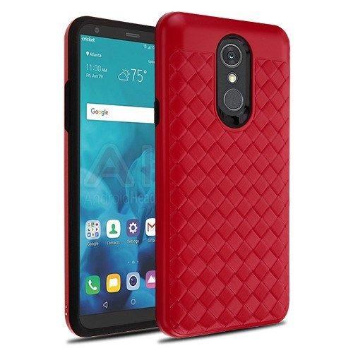 LG Stylo 4 Red Large Woven Grain Black Hybrid Case Cover