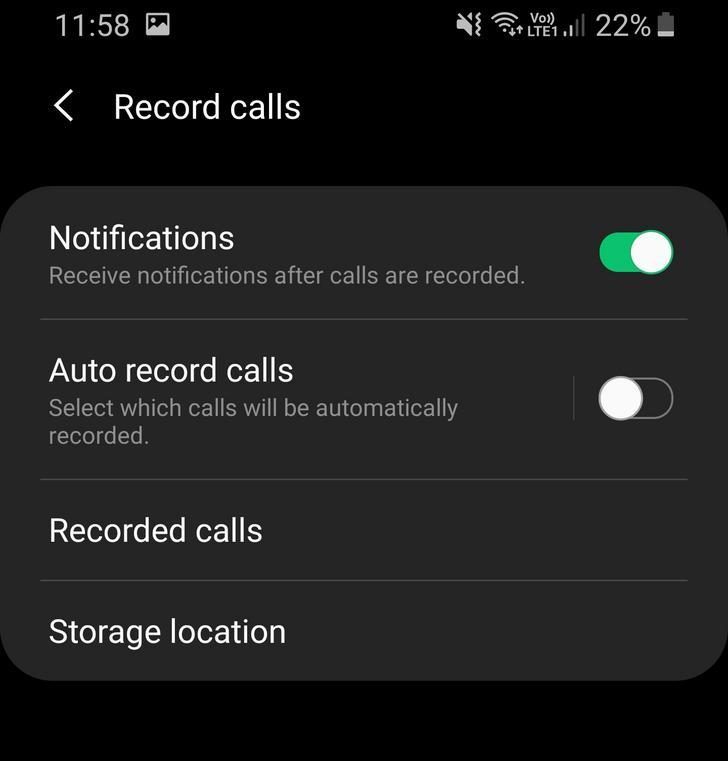 call recording Samsung One UI