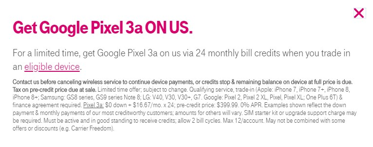 T-Mobile Pixel 3a deals