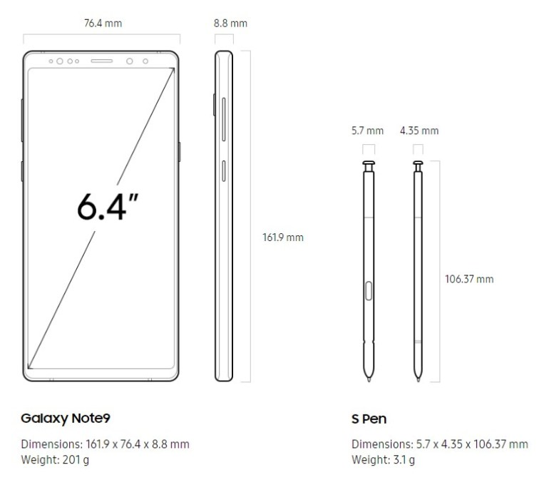 Galaxy Note 9 dimensions and weight