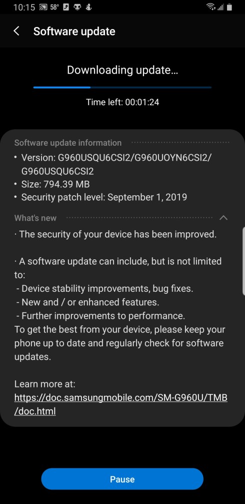 T-Mobile S9 night mode update