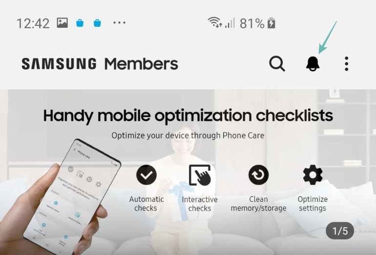 Samsung Members Notices section