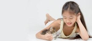 Kitten with girl