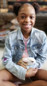 Zakiyah and pet bunny