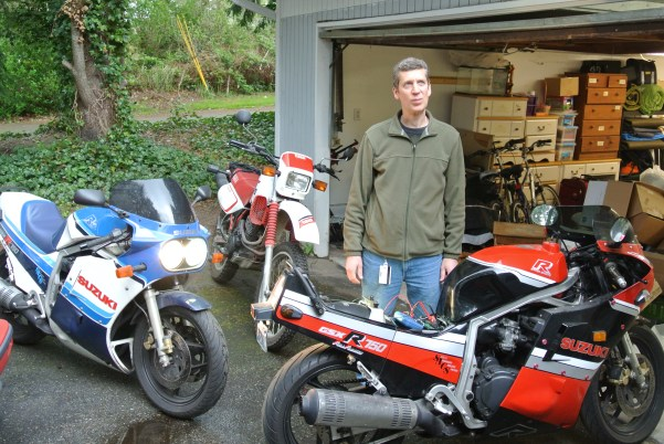 Peter, my husband and partner in life since 2000. As you can see, he loves motorcycles.