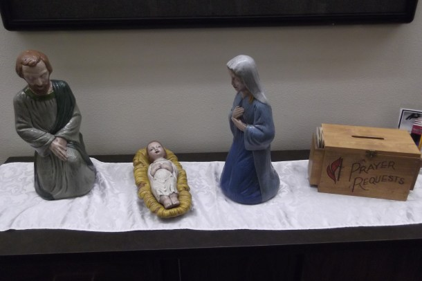 Mary, Joseph, and baby Jesus.