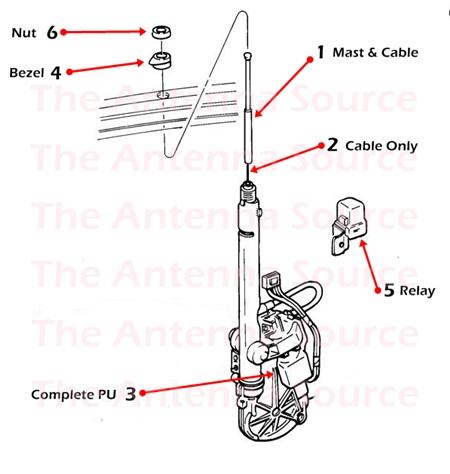 1992-1994 Buick Riviera Antenna Parts, 01646745, 22039696