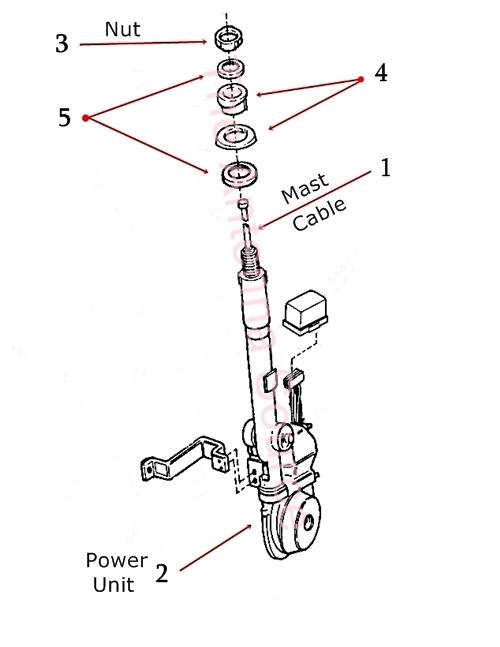 1992-1993 Cadillac Allante Antenna Mast Parts, 10023825