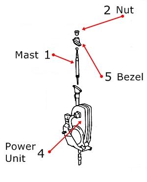 1998-2002 Toyota Corolla Antenna Mast Parts, 86300-02040