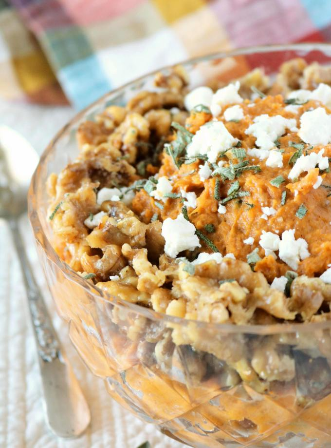 Mashed Sweet Potatoes with Goat Cheese and Honey Walnuts.