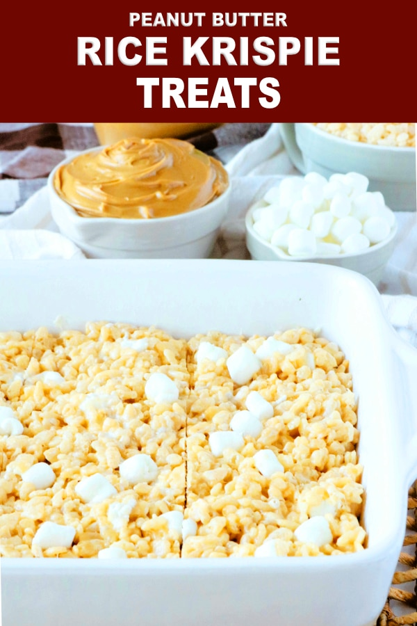 Peanut Butter Rice Krispie Treats with Marshmallows