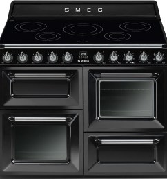 smeg tr4110ibl 110cm black victoria traditional 4 cavity range cooker with induction hob  [ 1000 x 1000 Pixel ]