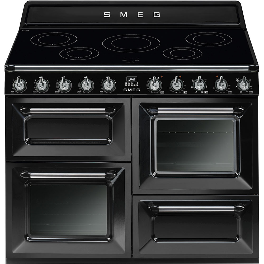 hight resolution of smeg tr4110ibl 110cm black victoria traditional 4 cavity range cooker with induction hob