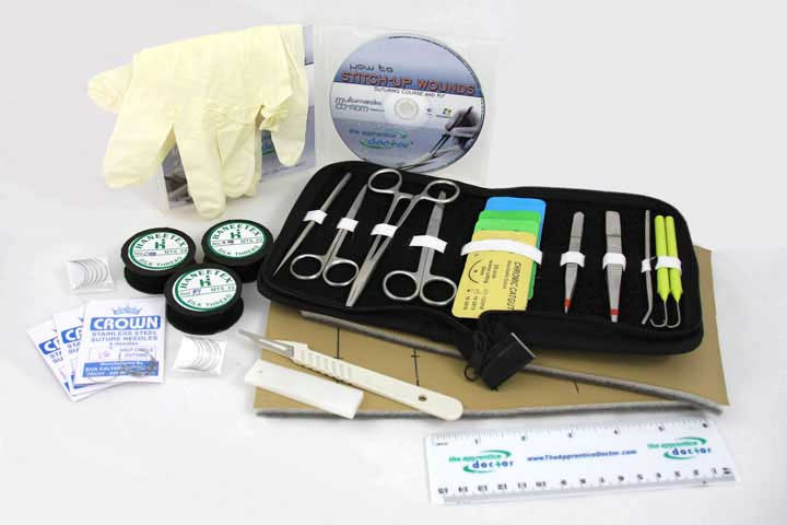 Get a piece suture kit with 3 layer imitation skin, suture material, and an online course by an experienced surgeon. All-in-one solution to suturing.