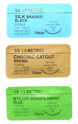 Sutures - Silk, Nylon, and Chromic catgut