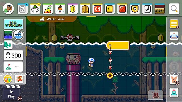 Super Mario Maker 2 - Cómo hacer que el agua o lava suba y baje 1