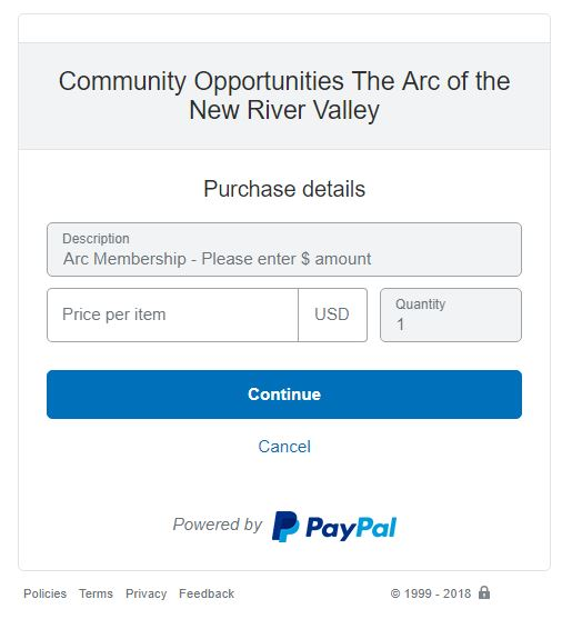 Arc of the New River Valley membership PayPal form