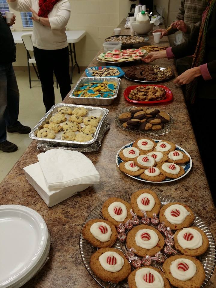 Cookies laid out at the Christmas Cookie Party