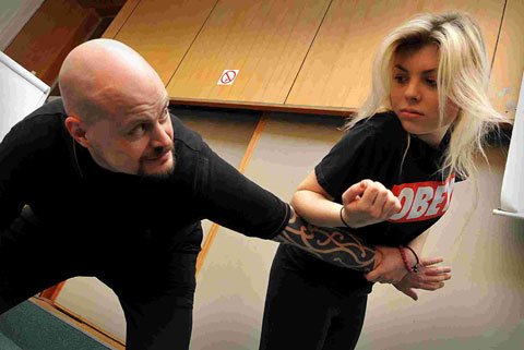 Nick Botton director of Sanctuary Investigations at a personal safety and self defence session at Hove Town Hall