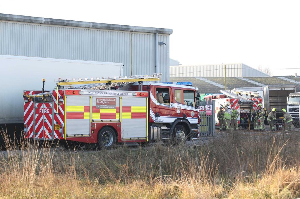 Healthcare waste disposal unit on fire