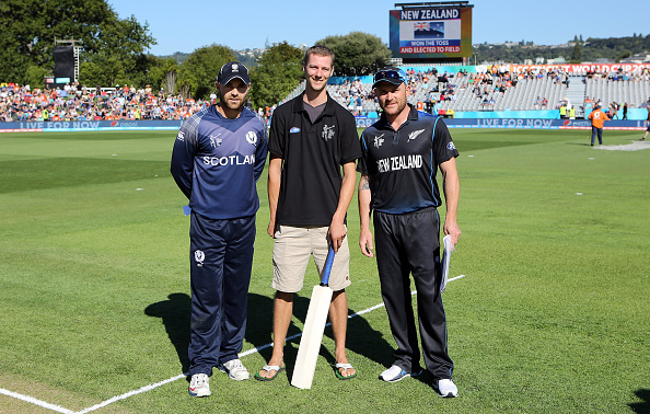 DUNEDIN, NEW ZEALAND - FEBRUARY 17: Preston Mommsen of Scotland and Brendon McCullum with the Pepsi mascot during the ICC Cricket World Cup match between New Zealand and Scotland at University Oval on February 17, 2015 in Dunedin, New Zealand.  (Photo by Rob Jefferies-IDI/IDI via Getty Images)