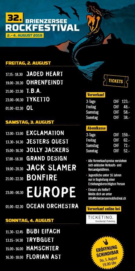 Grossartige Bands am 32. Brienzersee Rockfestival