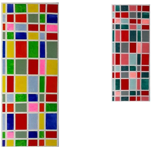 הציור שלי מסדרת הציורים הגאומטריים (משמאל) לעומת כיצד זה נראה מעיניו של עיוור צבעים של כחול בעיקר (מימין)