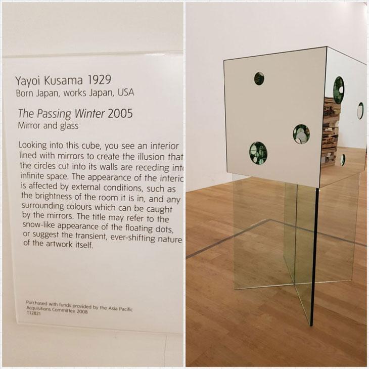 עבודה של Yayoi Kusama מראות וזכוכיות