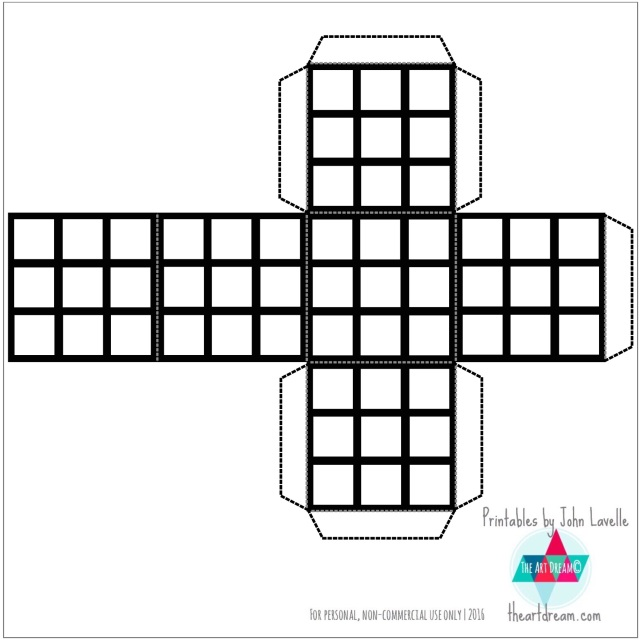 Color Your Own Rubik's Cube Printable