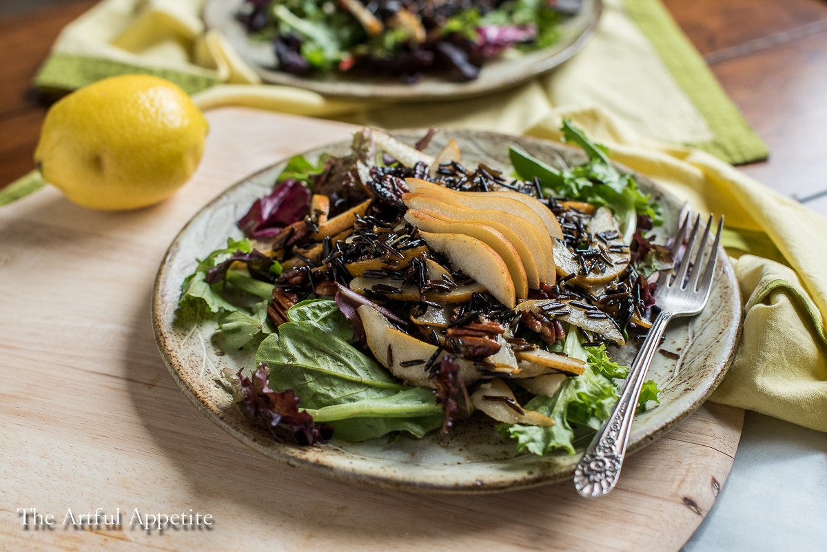 Lemony Wild Rice Pear Vegan Salad
