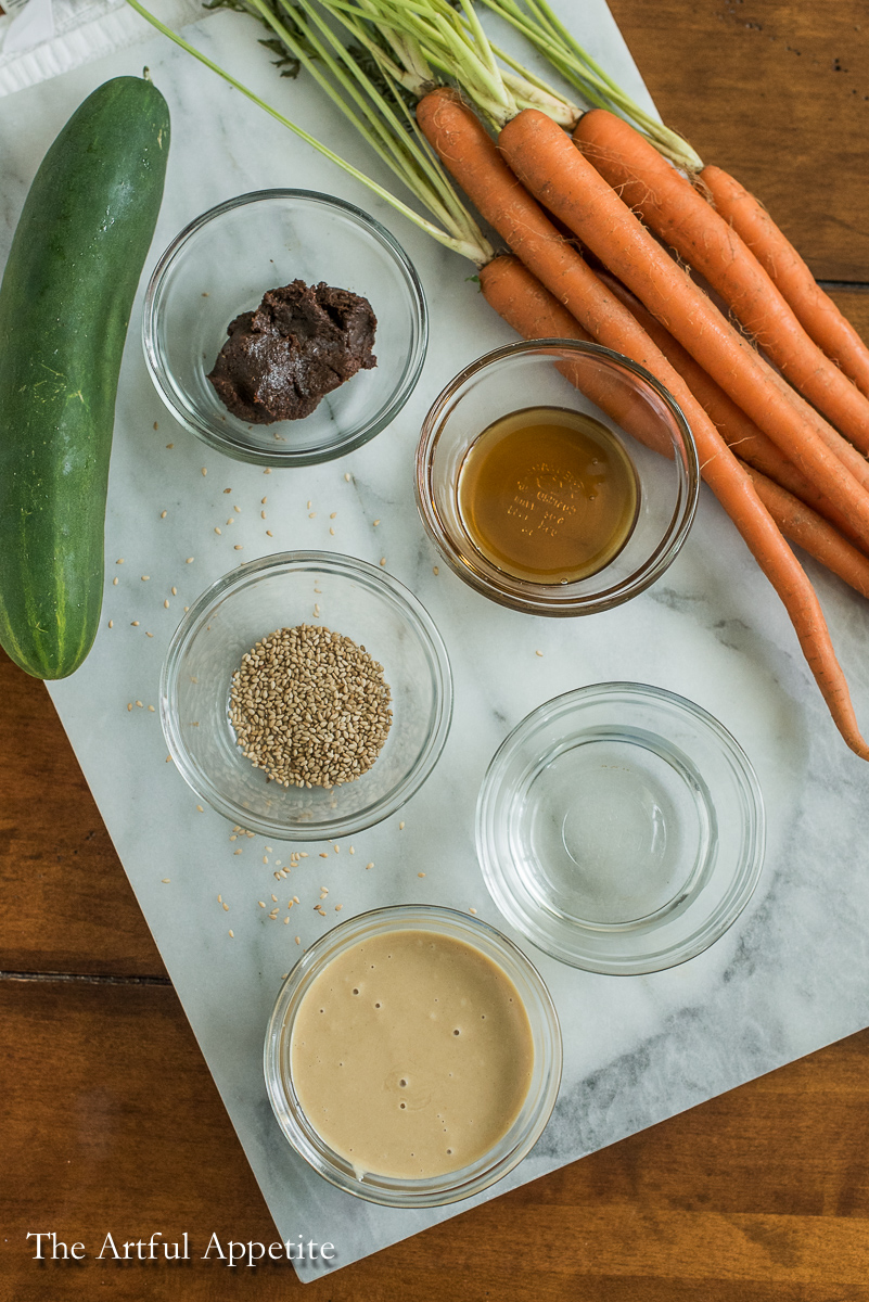Miso Tahini Sesame Dip- A simple vegan veggie dip that is perfect for the summer!